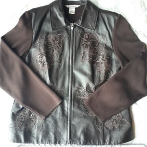 Nyguard Collection Brown Leather Front Zip Blazer
